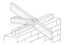 Construção arquitetónica linear do telhado do esboço Imagem de Stock Royalty Free
