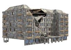 Construção arruinada isolada na ilustração branca do fundo 3D fotografia de stock