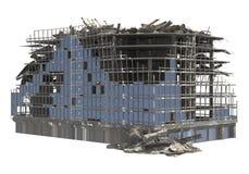 Construção arruinada isolada na ilustração branca do fundo 3D imagens de stock