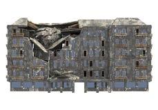 Construção arruinada isolada na ilustração branca do fundo 3D foto de stock royalty free