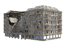 Construção arruinada isolada na ilustração branca do fundo 3D foto de stock