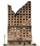 Construção arruinada isolada na ilustração 3D branca Foto de Stock Royalty Free