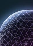 Constru??o assim?trica ? moda roxa azul do techno contempor?neo, objeto dimensional abstrato com linhas conectadas e ilustração stock