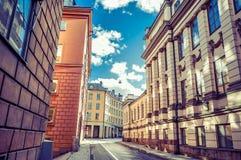 Construção bonita da arquitetura da cidade do inverno da Suécia Fotografia de Stock