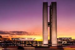 Construção brasileira do congresso nacional fotografia de stock