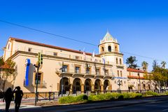 Construção cívica nacional do teatro da cidade perto de San Jose do centro fotos de stock royalty free