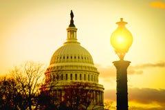 Construção capitala no por do sol, Washington dos E.U., C.C. Imagens de Stock