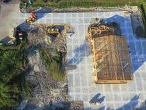 Construção civil de madeira aérea do anúncio publicitário da casa foto de stock