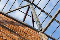 Construção civil residencial do fardo do telhado das vigas de aço Fotografia de Stock