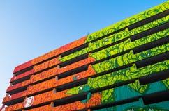 Construção colorida com paredes pintadas Imagem de Stock