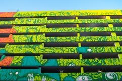 Construção colorida com paredes pintadas Imagens de Stock Royalty Free