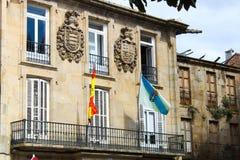 Construção com bandeiras Fotografia de Stock Royalty Free