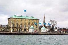 Construção da autoridade portuária, Copenhaga imagens de stock