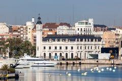Construção da autoridade portuária em Valência, Espanha fotografia de stock royalty free
