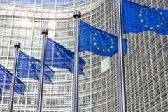 Construção da comissão da UE das bandeiras fotos de stock royalty free