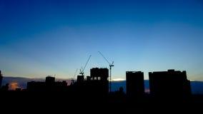 Construção da construção da silhueta Imagem de Stock