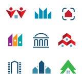 Construção da construção dos bens imobiliários no ícone do logotipo do centro comunitário da cidade ilustração royalty free