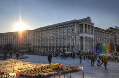 Construção da estação de correios em Maidan Nezalezhnosti, Kiev (HDR) Fotos de Stock