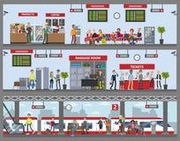Construção da estação de trem ilustração do vetor
