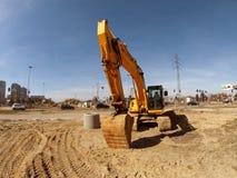 Construção da estrada em Lodz fotografia de stock