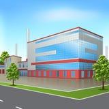 Construção da fábrica com escritórios e instalações de produção Fotos de Stock