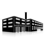 Construção da fábrica com escritórios e instalações de produção Imagem de Stock Royalty Free