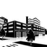 Construção da fábrica com escritórios e instalações de produção Fotos de Stock Royalty Free