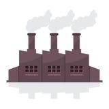 Construção da fábrica com pilhas de fumo Imagens de Stock