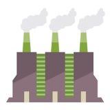 Construção da fábrica com pilhas de fumo Foto de Stock Royalty Free