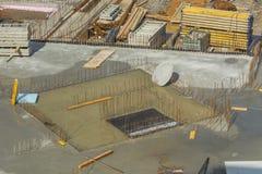 Construção da fundação do aço e do concreto Fotografia de Stock