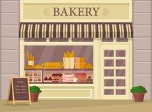 Construção da padaria ou loja da padaria, exterior da loja ilustração royalty free