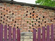 Construção da parede construída da alvenaria do tijolo Foto de Stock