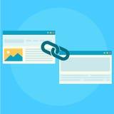 Construção da relação para a bandeira do seo Duas páginas são conectadas por uma corrente Imagem de Stock Royalty Free