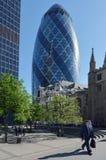 30 construção da torre do St Mary Axe na cidade de Londres, Reino Unido Fotos de Stock Royalty Free