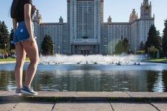 Construção da universidade estadual de Lomonosov Moscou foto de stock royalty free