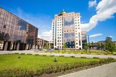 Construção da universidade estadual de Novosibirsk fotografia de stock