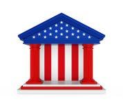 Construção de American Bank isolada Imagens de Stock