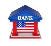Construção de American Bank isolada Fotografia de Stock