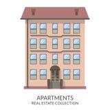 A construção de apartamentos, bens imobiliários assina dentro o estilo liso Ilustração do vetor Imagens de Stock Royalty Free