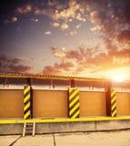 Construção de armazenamento no por do sol Imagem de Stock Royalty Free