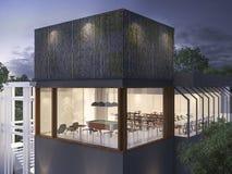 construção de bambu da parede da rendição 3d na noite ilustração royalty free