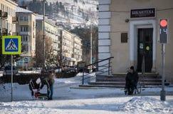 Construção de biblioteca na cidade de Zheleznogorsk Imagens de Stock Royalty Free