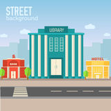 Construção de biblioteca no espaço da cidade com a estrada no plano Imagem de Stock