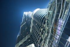 Construção de Burj Khalifa na noite Fotografia de Stock
