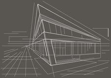 Construção de canto moderna do esboço arquitetónico no fundo cinzento Fotografia de Stock