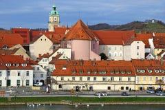 Construção de casa velha da videira na cidade de Maribor, Eslovênia Fotografia de Stock Royalty Free