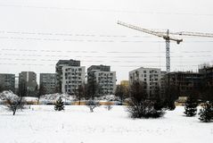 Construção de casas novas no distrito de Fabijoniskes da cidade de Lituânia Vilnius Foto de Stock Royalty Free