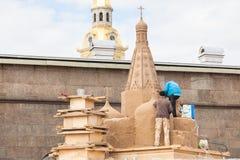 Construção de esculturas da areia Imagens de Stock Royalty Free