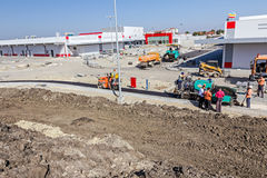 Construção de estradas Asphalt Spreader Imagem de Stock Royalty Free