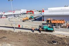 Construção de estradas Asphalt Spreader Fotos de Stock